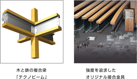 木と鉄の複合梁「テクノビーム」。強度を追求したオリジナル接合金具。
